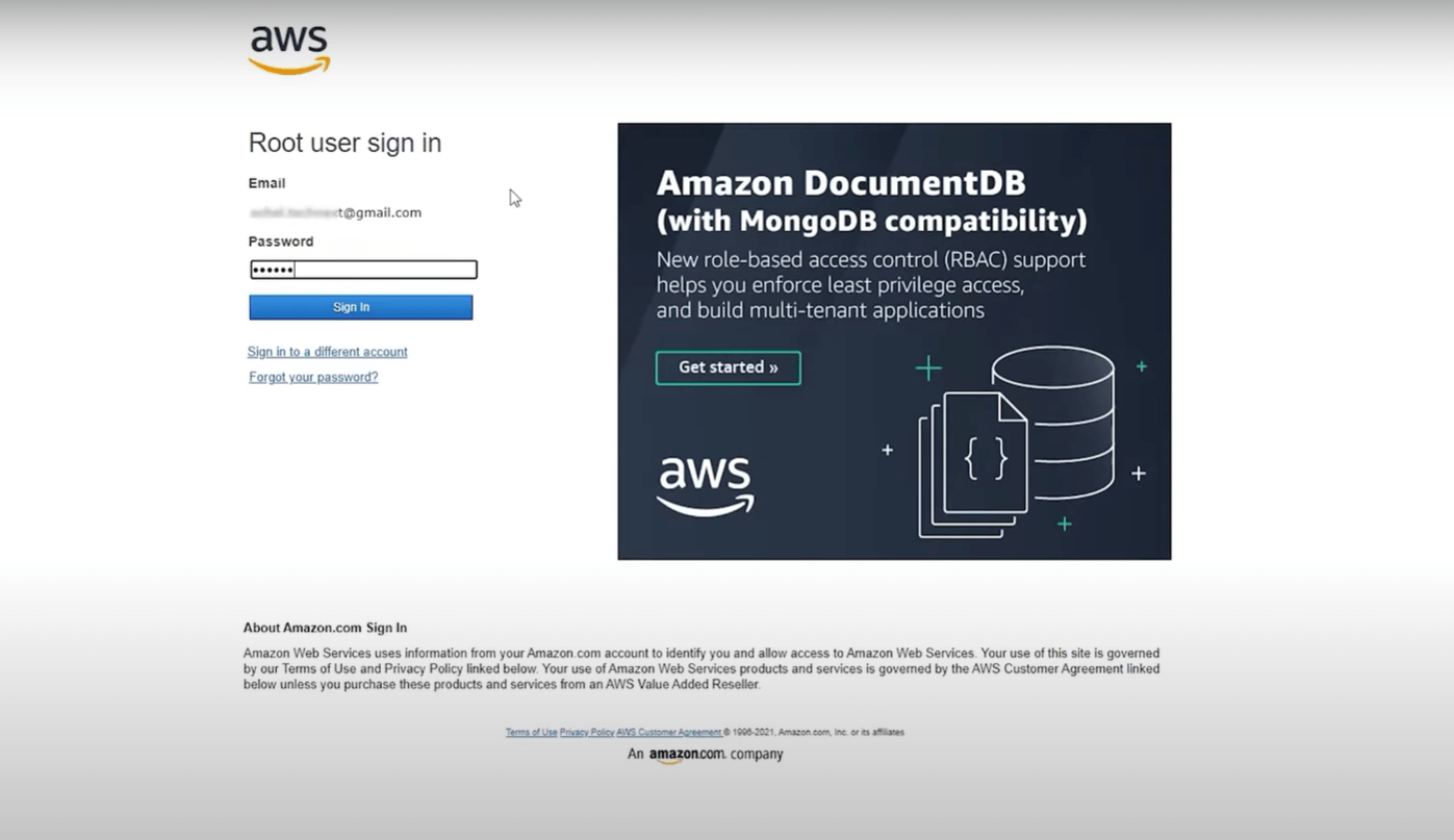 log in to aws console as a root user