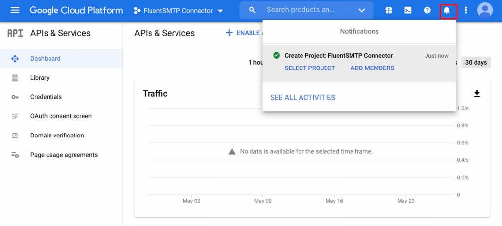 A Notification Shown in Google Cloud Platform with Fluent SMTP