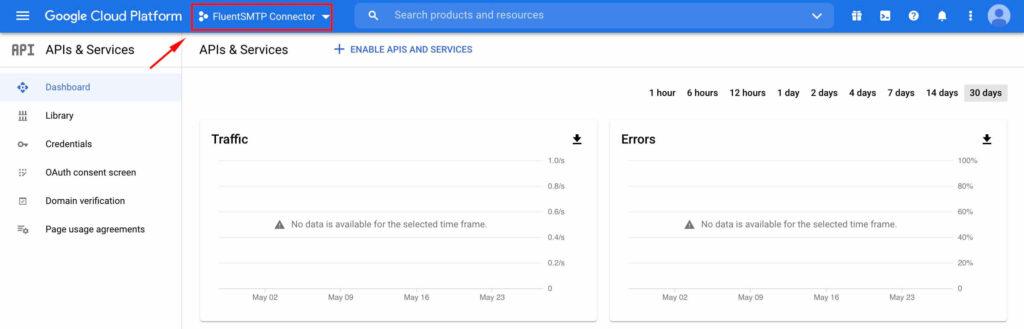 Click the Project Again - Google Cloud Platform with Fluent SMTP