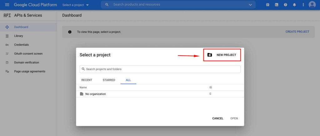 Select New Project - Google Cloud Platform with Fluent SMTP