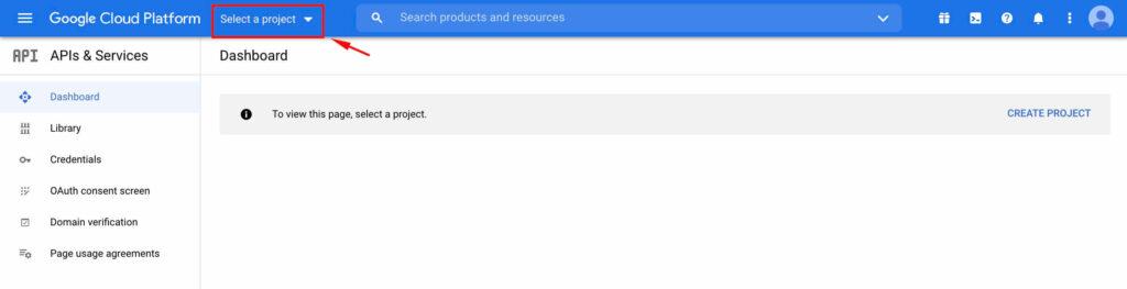 Select Project - Google Cloud Platform with Fluent SMTP