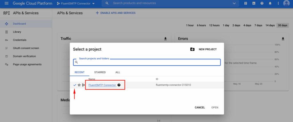 Select The Project - Google Cloud Platform with Fluent SMTP