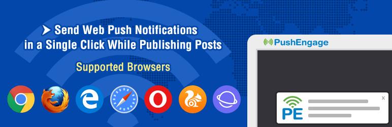 pushengage wordpress plugin banner