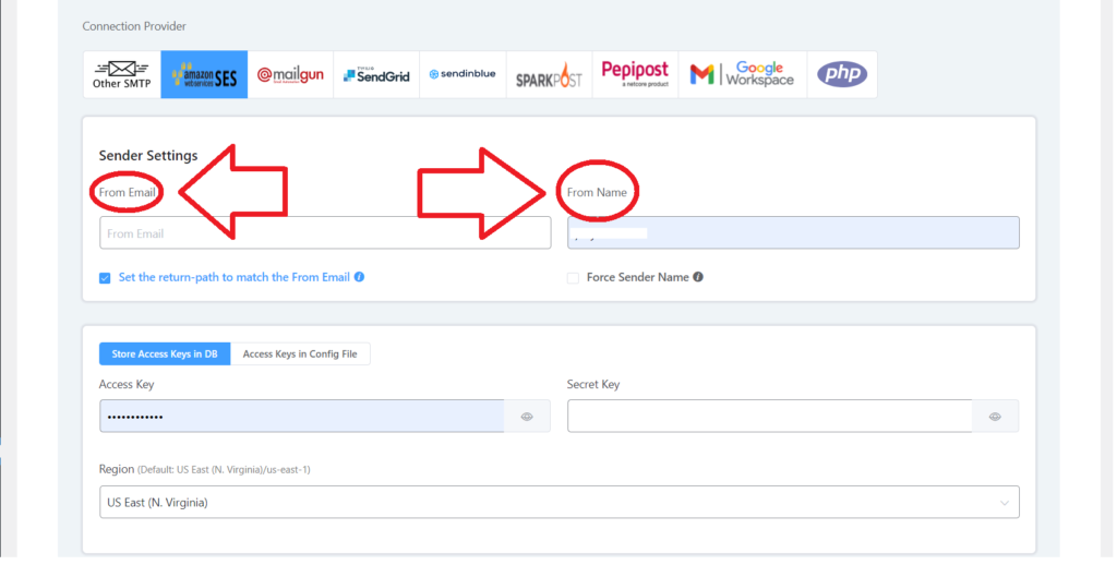 configure from name and email address fluentsmtp